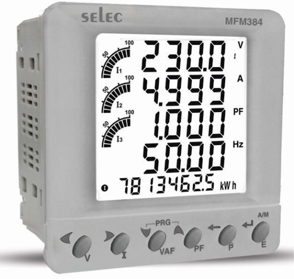 Multifunktionsmeßgerät, dreiphasig, 7 Meßgrößen, 1xPulsausgang, LCD-Anzeige, EIA-485, 85-270VAC, 1/4 DIN Grau