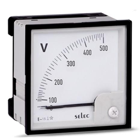 Voltmeter, analog, 0-500V, einphasig, 96x96mm