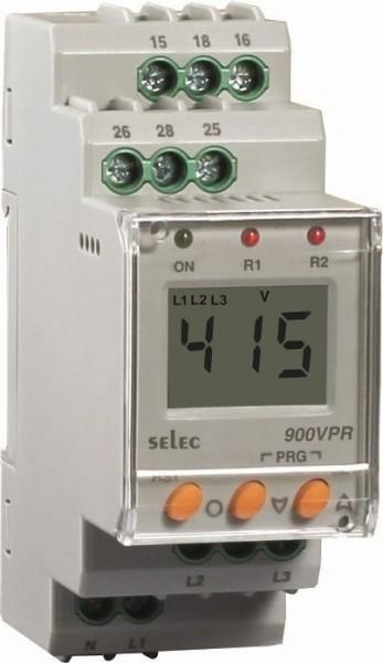 Spannungsschutzrelais, dreiphasig, Über-/Unterspannung / Über-/Unterfrequenz / Asymmetrie / Phasenfolge / Phasenausfall, 280-520VAC, 2SPDT, 35mm DIN-Schiene
