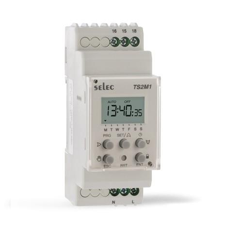 Zeitschaltuhr, digital, 30 AN- und 30 AUS Schaltvorgänge, 2 O/Ps, 1 SPDT, 16A, 230VAC, Hutschiene 35mm
