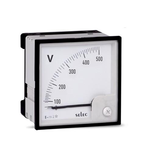 Voltmeter, analog, 0-500V, einphasig, 72x72mm