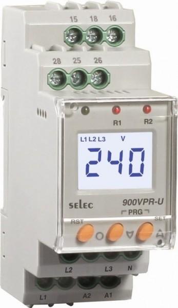 Spannungsschutzrelais, dreiphasig, Über-/Unterspannung / Über-/Unterfrequenz / Asymmetrie / Phasenfolge / Phasenausfall / Neutralleiter-Ausfall, 85-270V, 2SPDT, 17,5mm DIN-Schiene