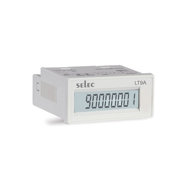 Zeitzähler, Spannungseingang, weiß, 1x8 Ziffern LCD, Batteriebetrieb, 1/16 DIN