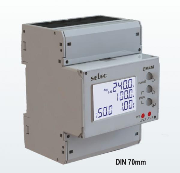 Energiemeßgerät, 3-phasig, 100A Direct, 2xPulsausgang, EIA-485, Imp & Exp, , LCD-Anzeige Hintergrundlicht, 85-285VAC, Din Rail