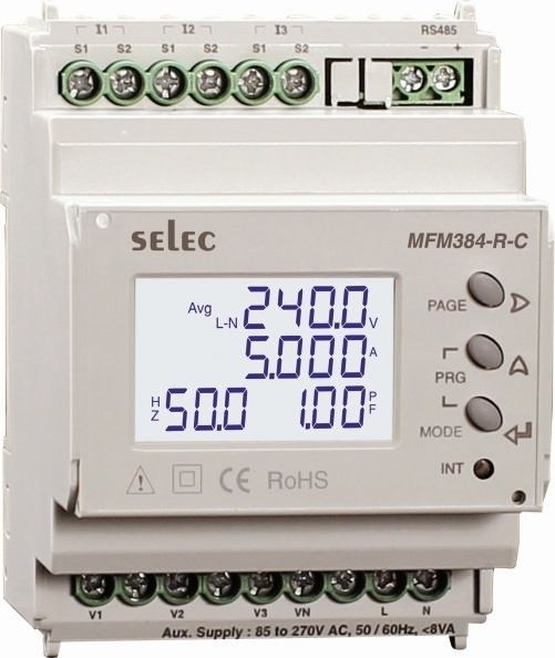 Multifunktionsmessgerät, dreiphasig, 7 Meßgrößen, LCD-Anzeige, EIA-485, 85-270VAC, 70mm DIN-Schiene